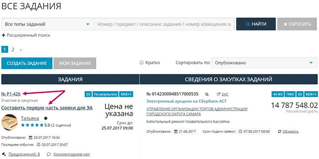 Скриншот списка заданий